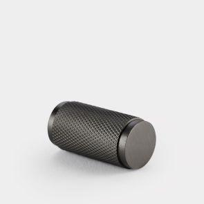 Brass Cylinder Pull - Gunmetal Grey - Knurled