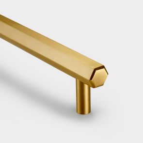 Brass Bar Handles - Gold - Hexagonal