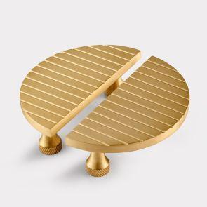 Small Brass Half Moon Handles - Gold - Stripe