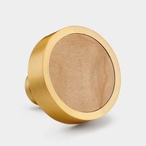 Brass Door Knob - Maple Wood