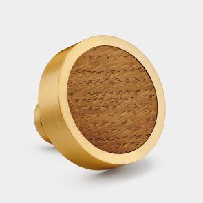 Brass Door Knob - Oak Wood